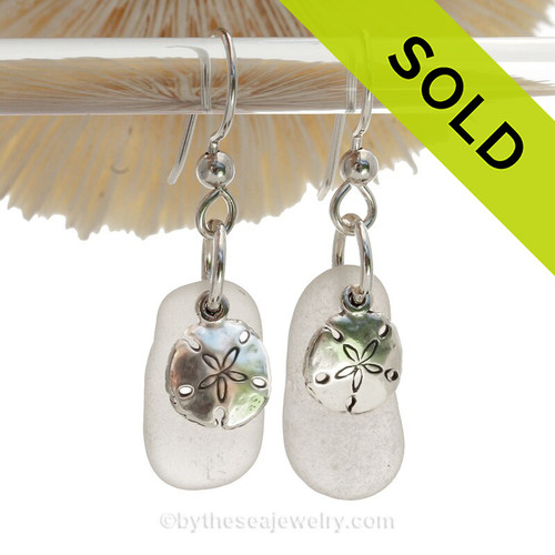 Genuine Sea Glass Earrings In White on Sterling Silver With Sandollar Charms