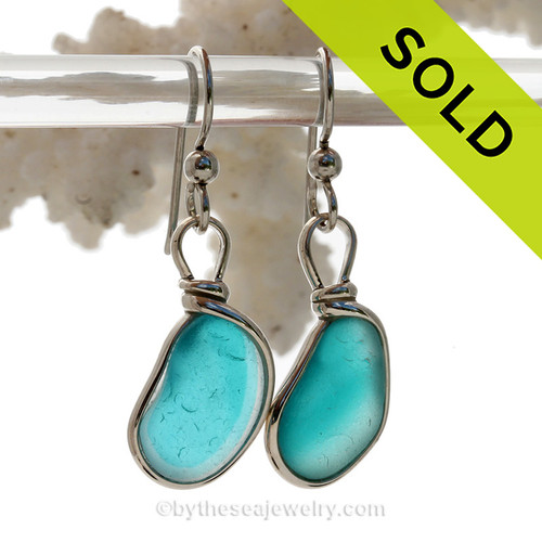 Aqua Dreamz - Super Rare Electric Aqua Sterling English Multi Sea Glass Earrings In Sterling Original Wire Bezel©