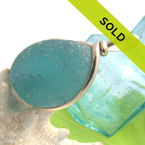 Large Aqua Sea Glass In G/F Original Wire Bezel© Setting