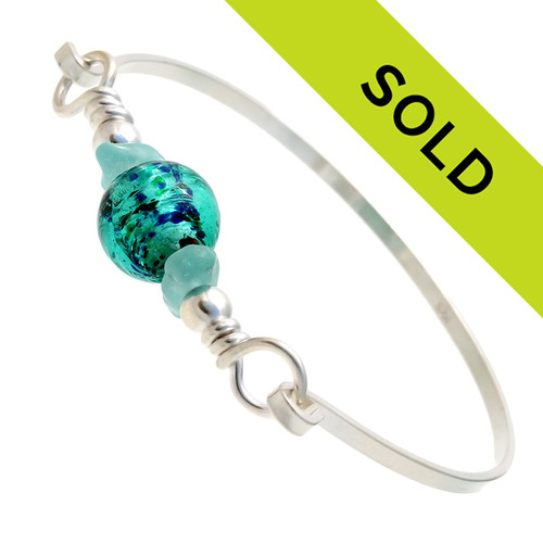 Sorry this aqua sea glass and vintage bead bangle has been sold.