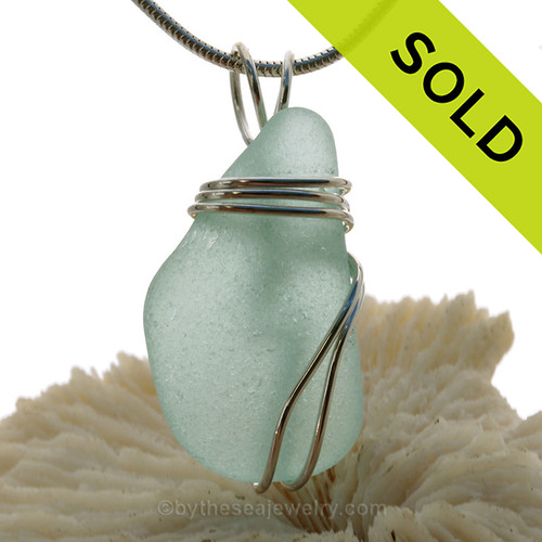 Soft Aqua Green Sea Glass Pendant In Sterling Triple Necklace Pendant Setting