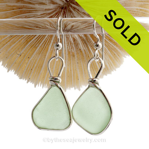 Stunning Yellowy Seafoam Green Beach Found Sea Glass Earrings In Solid Sterling Silver Original Wire Bezel©