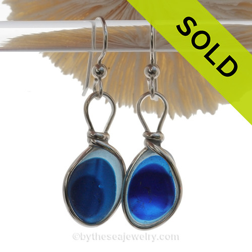An AWESOME STUNNING match in Petite English Multi Sea Glass Earrings in a Bright Mixed Blue set in our Original Wire Bezel© setting in Solid Sterling Silver Original Wire Bezel©.  ULTRA RARE - This is EXCEPTIONALLY hard glass to match to this degree!