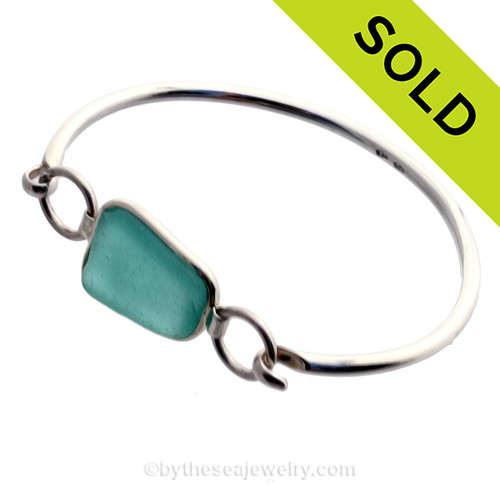 Deep Aqua Sea Glass Bangle Bracelet set in our Premium Deluxe Wire Bezel© Solid Sterling Silver . SOLD - Sorry this Sea Glass Bangle Bracelet is NO LONGER AVAILABLE!