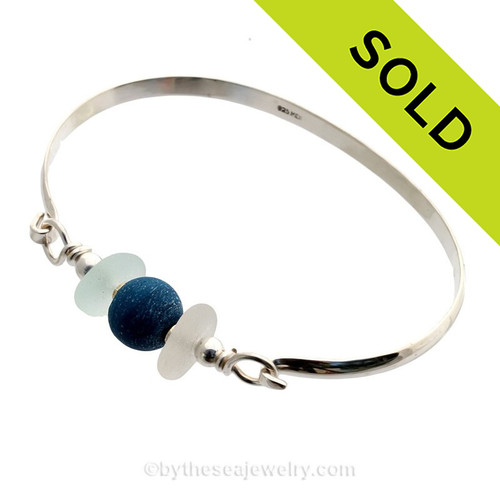 Whitish Seaham Sea Glass Bangle Bracelet In Solid Sterling With Recycled Blue Bead