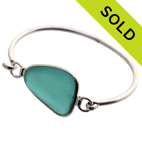 Larger  Stunning Genuine Deep Aqua Sea Glass Bangle Bracelet set in our Premium Deluxe Wire Bezel© Solid Sterling Silver