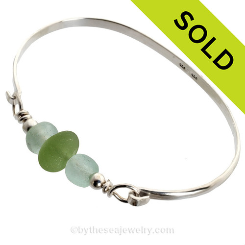 Peridot Green Seaham Sea Glass Bangle Bracelet In Solid Sterling. SOLD - Sorry This Sea Glass Jewelry Item is NO LONGER AVAILABLE!