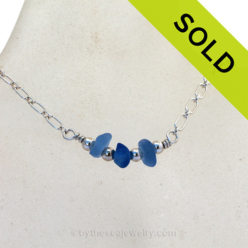 Triple Simply Sea Glass Necklace with Carolina and Cobalt Blue on Solid Sterling Silver