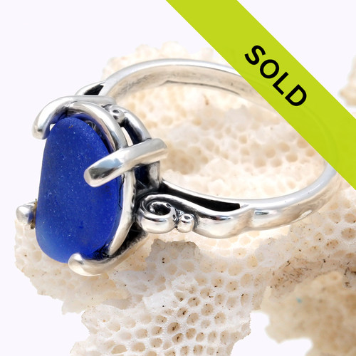 Cobalt Blue Sea Glass In Sterling Scroll Ring - Size 8
