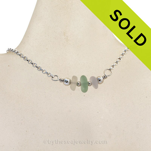 Triple Simply Sea Glass Necklace with White and Sea Green on Solid Sterling Silver