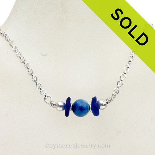 Simply Sea Glass Necklace with Cobalt Blue Sea Glass and a focal bead of Genuine Lapis all on Solid Sterling Silver. SOLD - Sorry This Sea Glass Jewelry Item is NO LONGER AVAILABLE!