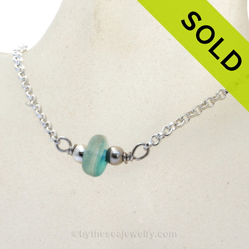 """Simply Sea Glass - Electric Aqua Seaham Multi Sea Glass Necklace on All Solid Sterling Silver - 18"""""""