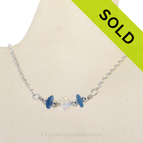 Simply Sea Glass Necklace with Cobalt Blue Sea Glass and a focal bead of Vintage Crystal all on Solid Sterling Silver
