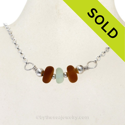 Simply Sea Glass Necklace with Bright Amber and Sea Green Sea Glass all on Solid Sterling Silver