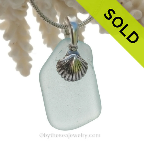 Stunning larger beach found sea glass in a simple sterling necklace