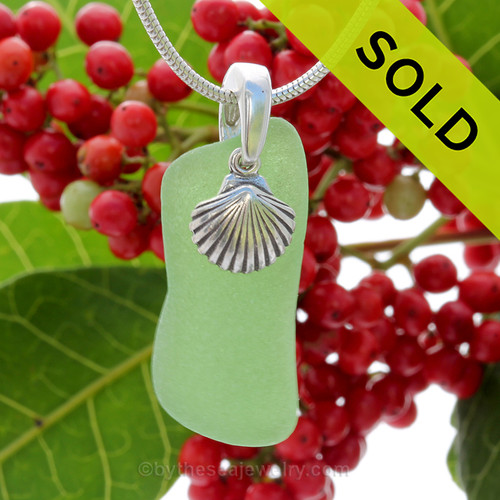 """Glowing Green Sea Glass With Sterling Silver Shell Charm - 18"""" STERLING CHAIN INCLUDED"""