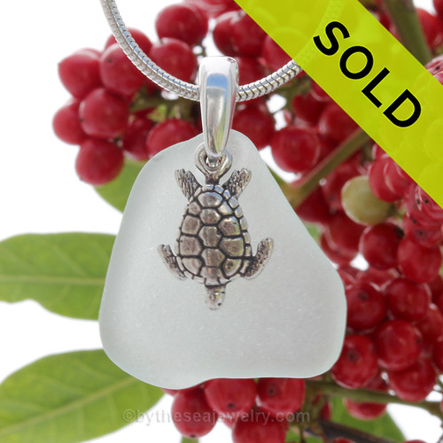 """Glowing Seafoam Green Sea Glass Necklace with Sterling Detailed Sea Turtle Charm and 18"""" STERLING CHAIN INCLUDED"""