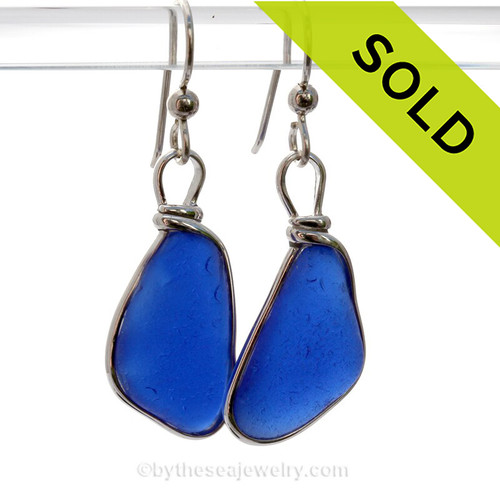 Bright Longer Cobalt Blue Genuine Natural Sea Glass Earrings Solid Sterling Silver Original Wire Bezel©