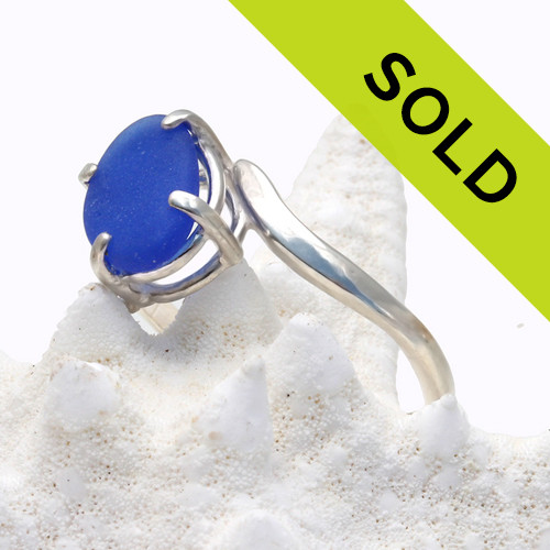 #2 of Cobalt Blue Sea Glass In Sterling Ring - Size 7
