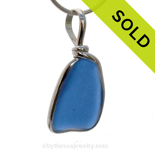 Lovely Genuine Blue Sea Glass Pendant In our Sterling Original Wire Bezel© (SPBEZEL15)  SOLD - Sorry this Sea Glass Jewelry selection is NO LONGER AVAILABLE!