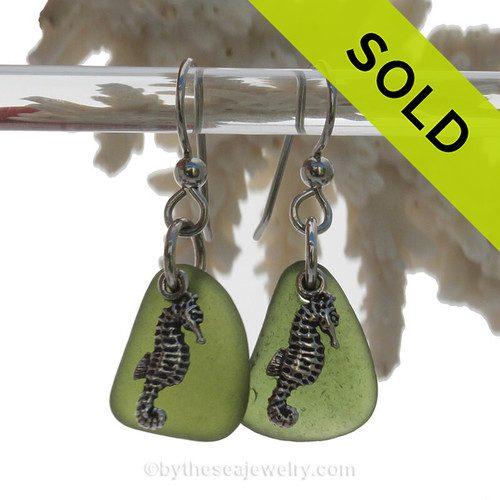 Glowing Seaweed Green Genuine UNALTERED Sea Glass Earrings W/ Solid Sterling Sea Horse Charms