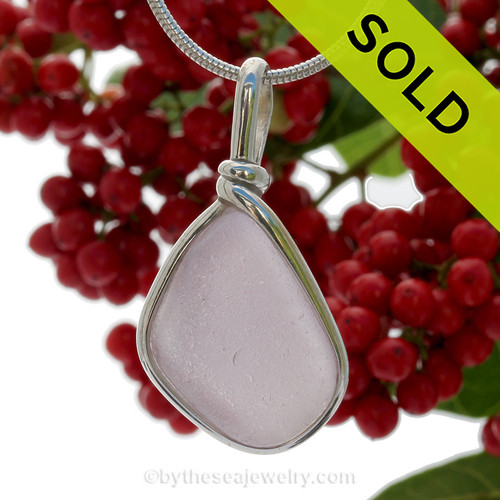 Lovely Purple or Lavender Genuine Sea Glass In Solid Sterling Silver Original Wire Bezel Setting©