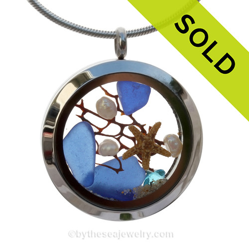 Cobalt Blue Genuine Sea Glass Locket With Starfish, Pearls, Crystal Gem & Beach Sand. SOLD - Sorry This Sea Glass Jewelry Item is NO LONGER AVAILABLE!