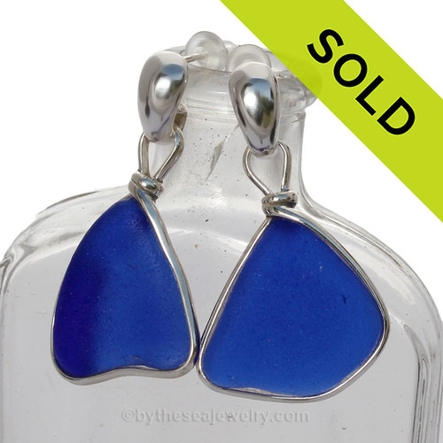 This is the EXACT pair of Sea Glass Earrings you will receive! P-E-R-F-E-C-T Very Large Intense Cobalt Blue Sea Glass Earrings Silver Original Wire Bezel© On Posts