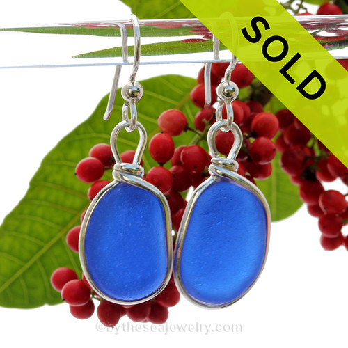 Medium Round Cobalt Blue Genuine Natural Sea Glass Earrings Solid Sterling Silver Original Wire Bezel©