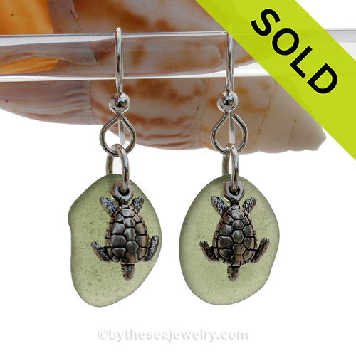 Seaweed Green Genuine UNALTERED Sea Glass Earrings W/ Solid Sterling Sea Turtle Charms