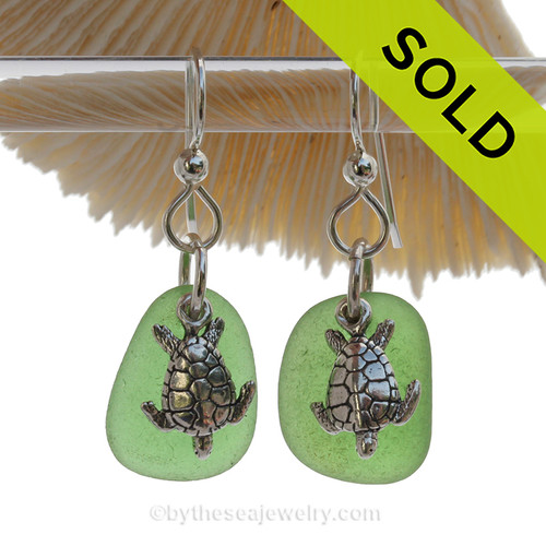Emerald Green Genuine UNALTERED Sea Glass Earrings W/ Solid Sterling Sea Turtle Charms