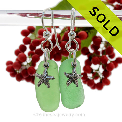Long Green Genuine Beach Found Sea Glass Earrings W/ Solid Sterling Silver Starfish  Turtle Charms