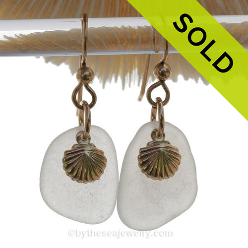 Larger White Genuine Sea Glass Earrings  With 14K Goldfilled Sea Shell Charms