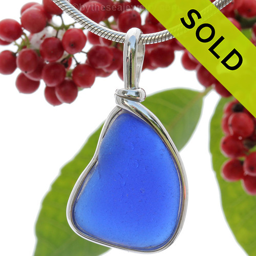 Blue Bump Out - Natural Blue Sea Glass Pendant In our Sterling Original Wire Bezel©