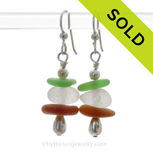 Triple Play - Chunky White - Green & Amber Sea Glass Stacked Earring on Sterling Earrings