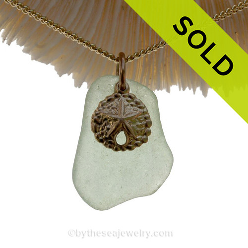 A simple seafoam green sea glass necklace is combined with a 14KG/F shell charm the 18 Inch 14K Goldfilled curb chain IS INCLUDED! SOLD - Sorry this Sea Glass Jewelry selection is NO LONGER AVAILABLE!