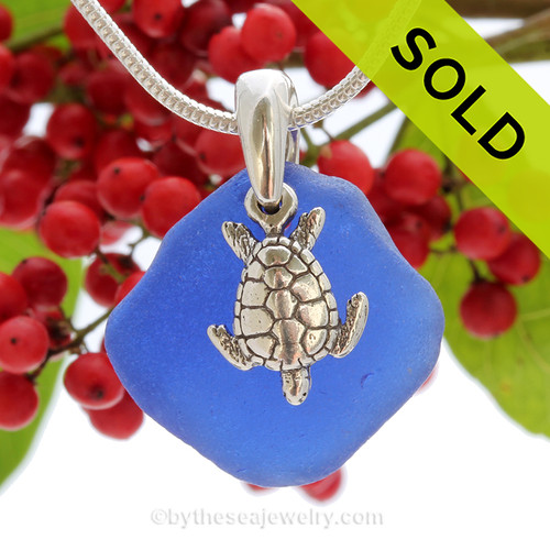 "Rare Cobalt Blue Sea Glass With Sterling Silver Turtle Charm - 18"" STERLING CHAIN INCLUDED"