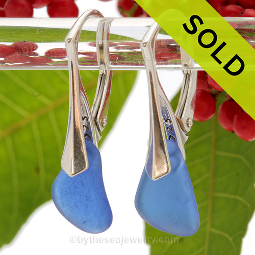Simply Elegant - Blue Sea Glass Earrings on Solid Sterling Silver Leverbacks