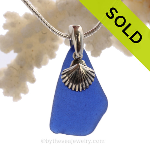 "Genuine Rare Cobalt Blue Sea Glass Necklace with Sterling Silver Sea Shell Charm and 18"" STERLING CHAIN INCLUDED"