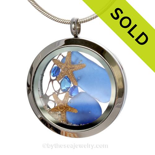 Cobalt Blue Genuine Sea Glass Locket With Starfishes, Gems & Beach Sand