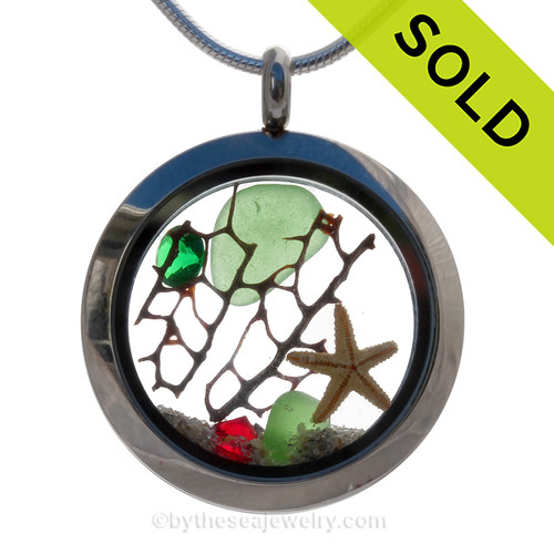 Christmas Treasures - Green Sea Glass With Starfish & Crystal Gems Locket Necklace