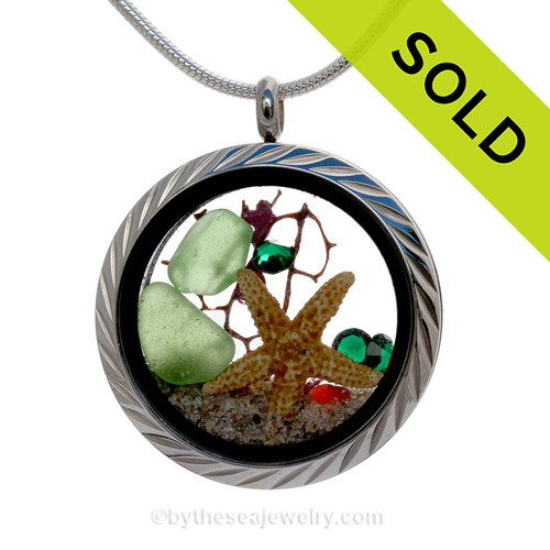 Dear Santa - Green Sea Glass With Starfish & Crystal Gems Locket Necklace