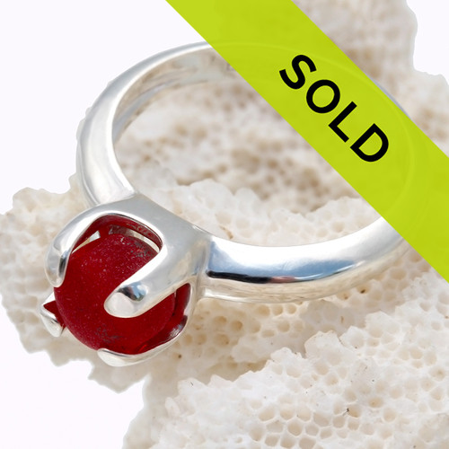 Sorry this rare red sea glass jewelry ring has been sold!