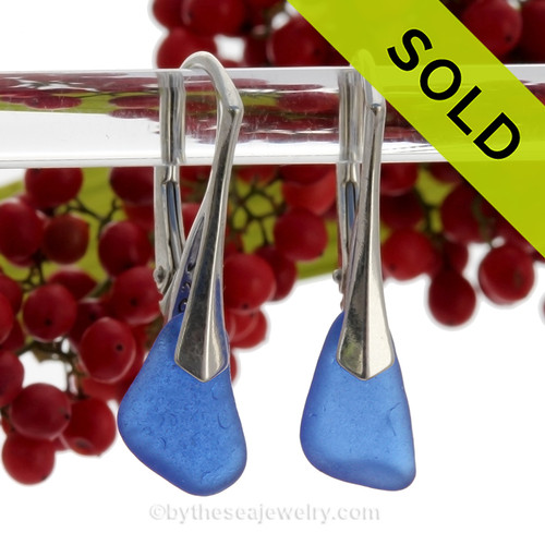 Petite Cobalt Blue Sea Glass Earrings on Solid Sterling Silver Leverbacks