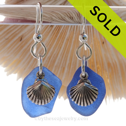 Cobalt Blue Genuine UNALTERED Sea Glass Earrings W/ Solid Sterling Shell Charms