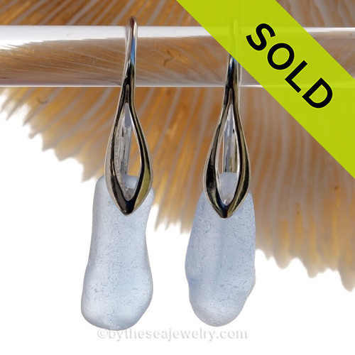 Perfect Petite piece of Carolina Blue Sea Glass Earrings on Solid Sterling Silver Deco Hooks