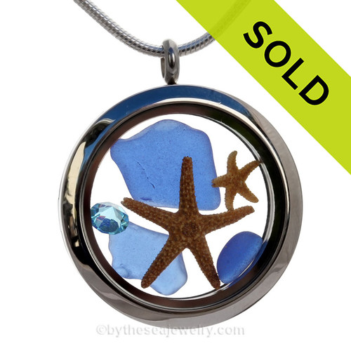 Blue Genuine Sea Glass Locket With Starfish and Zircon Gem & Beach Sand. SOLD - Sorry this Sea Glass Jewelry selection is NO LONGER AVAILABLE!