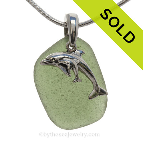 """Lighter Seaweed Green Sea Glass With Sterling Mother & Child Dolphins Charm - 18"""" STERLING CHAIN INCLUDED"""