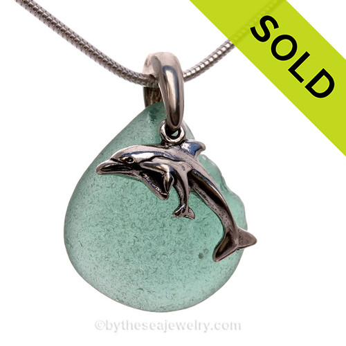 """Beautiful Soft Teal Aqua Sea Glass With Sterling Silver Dolphins Charm - 18"""" STERLING CHAIN INCLUDED SOLD - Sorry this Sea Glass Jewelry selection is NO LONGER AVAILABLE!"""