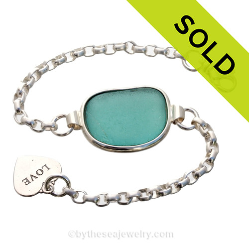 Large Electric Aqua Sea Glass set in our Premium Deluxe Wire Bezel© Solid Sterling Silver . SOLD - Sorry this Sea Glass Jewelry selection is NO LONGER AVAILABLE!